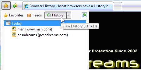 Click the History Button to View the Browser History