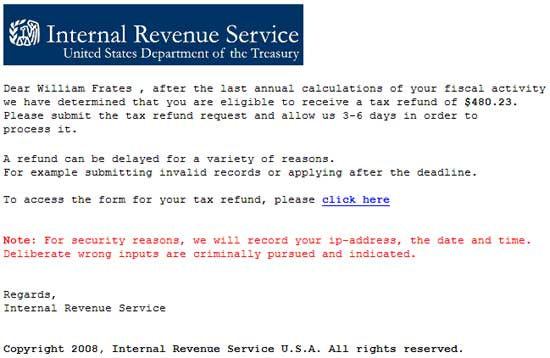 An IRS Phishing Email
