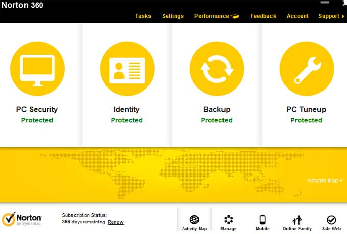 The Main Interface of Norton 360