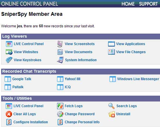 The SniperSpy Online Control Panel