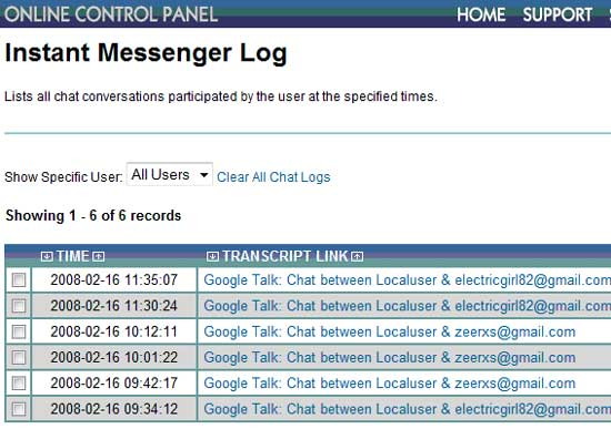 The SniperSpy Instant Messenger Log