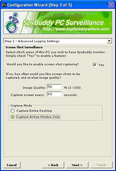 The SpyBuddy Advanced Logging Settings