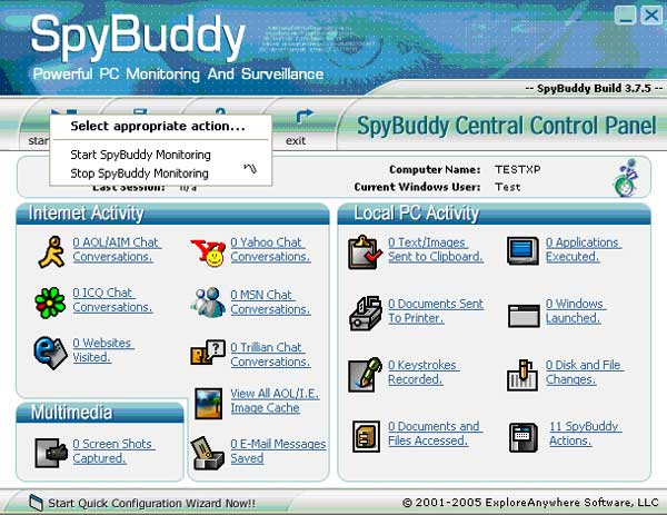 Start Computer Monitoring with SpyBuddy