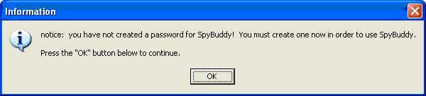 Create a password for SpyBuddy