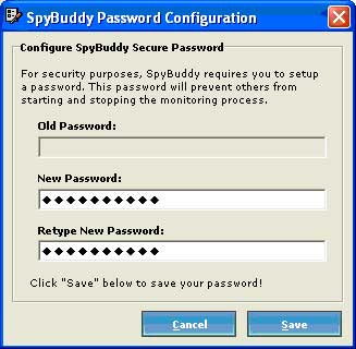 SpyBuddy password configuration