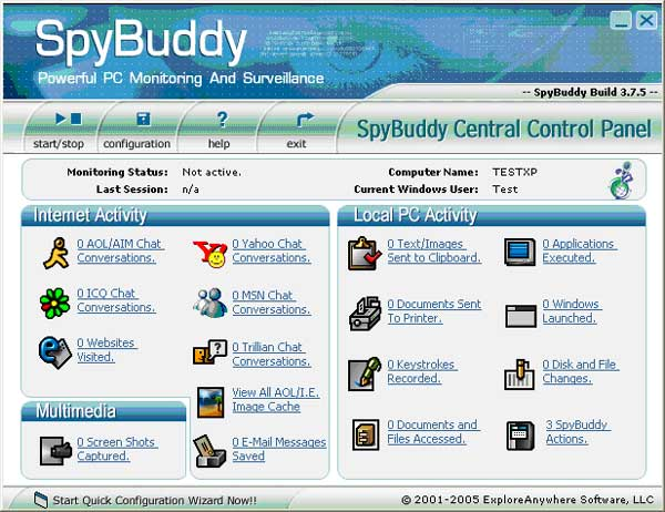 The SpyBuddy Central Control Panel