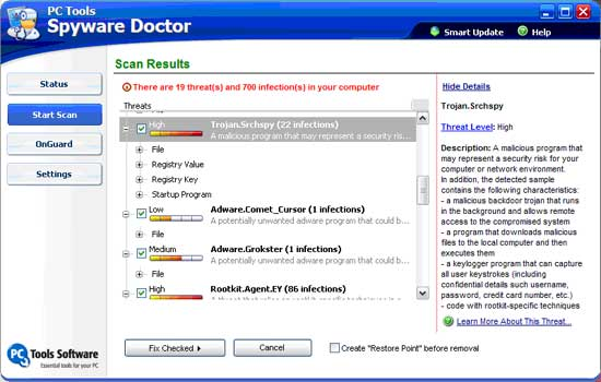 The Spyware Doctor Scan Results
